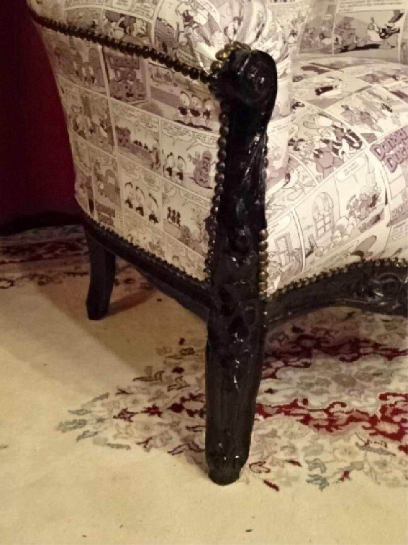 LOUIS XIV STYLE BERGERE ARM CHAIR, LEATHER UPHOLSTERY - 5