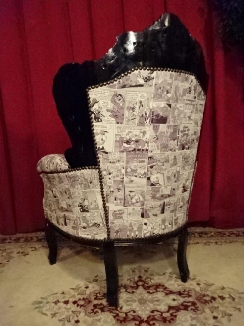 LOUIS XIV STYLE BERGERE ARM CHAIR, LEATHER UPHOLSTERY - 9