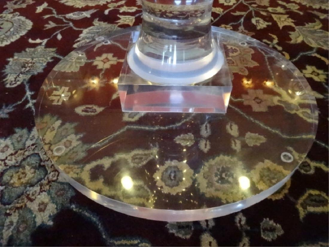 """BALUSTER FORM LUCITE DINING TABLE BASE, 32"""" ROUND GLASS - 4"""