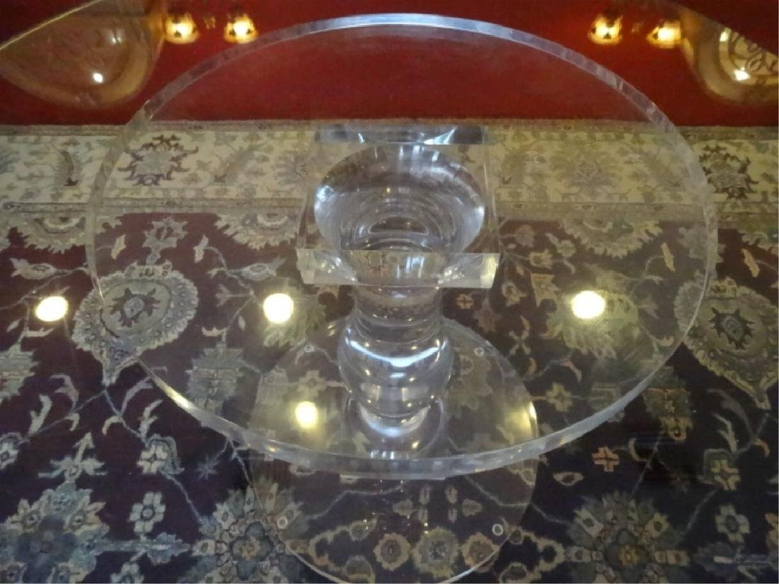 """BALUSTER FORM LUCITE DINING TABLE BASE, 32"""" ROUND GLASS - 6"""