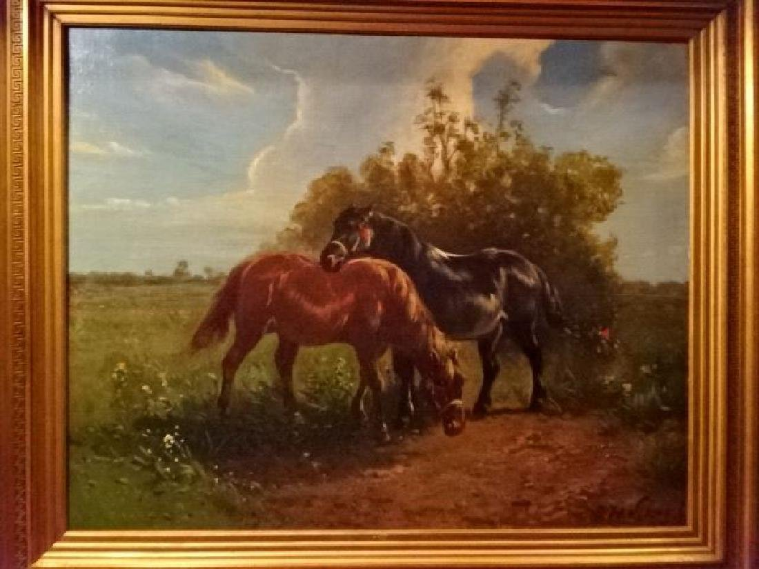 LARGE OIL ON CANVAS PAINTING, 2 HORSES IN PASTORAL