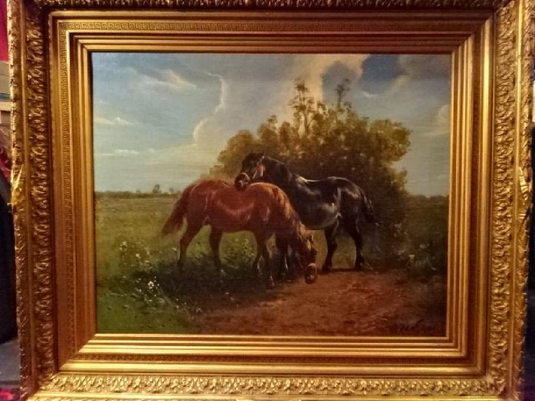 LARGE OIL ON CANVAS PAINTING, 2 HORSES IN PASTORAL - 2