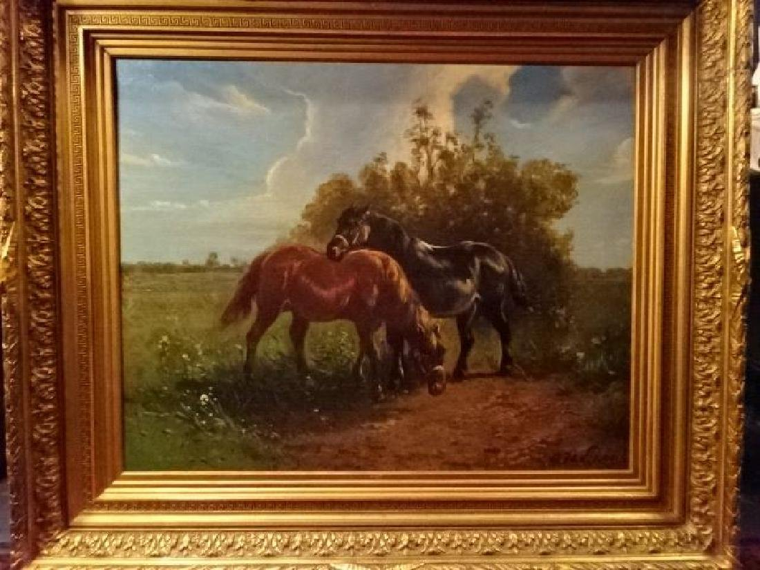 LARGE OIL ON CANVAS PAINTING, 2 HORSES IN PASTORAL - 3