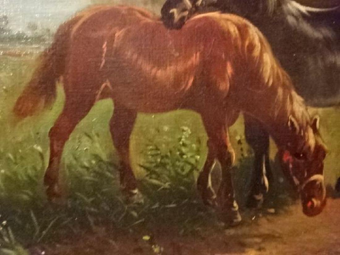 LARGE OIL ON CANVAS PAINTING, 2 HORSES IN PASTORAL - 5