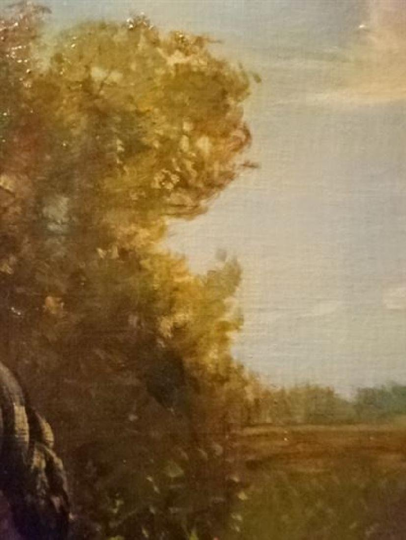 LARGE OIL ON CANVAS PAINTING, 2 HORSES IN PASTORAL - 6