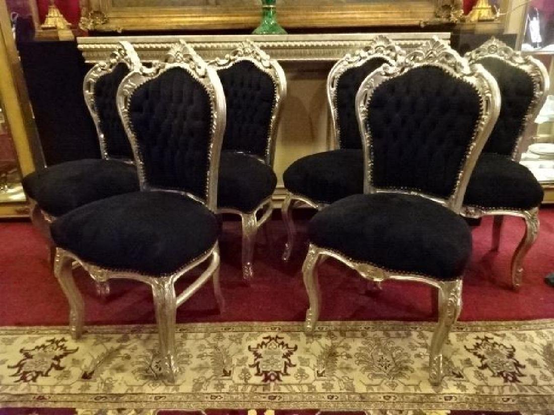6 LOUIS XV STYLE SILVER GILT CHAIRS, BLACK VELVET