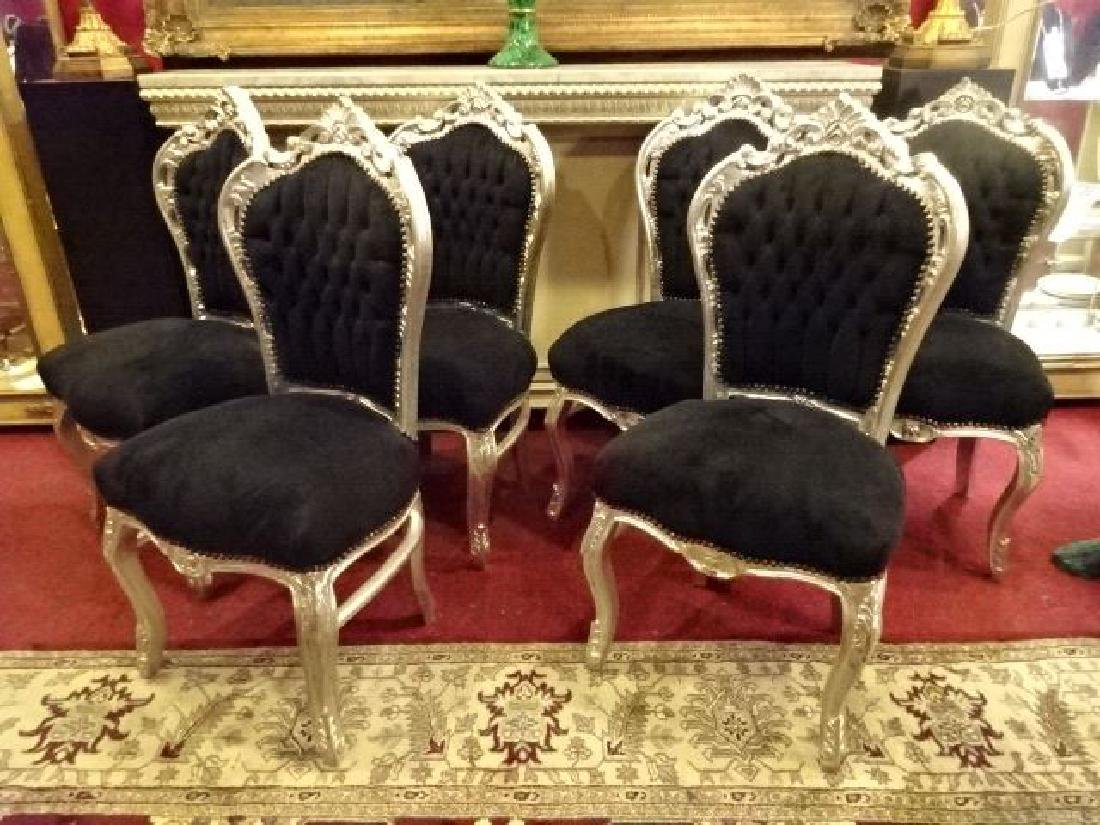 6 LOUIS XV STYLE SILVER GILT CHAIRS, BLACK VELVET - 2