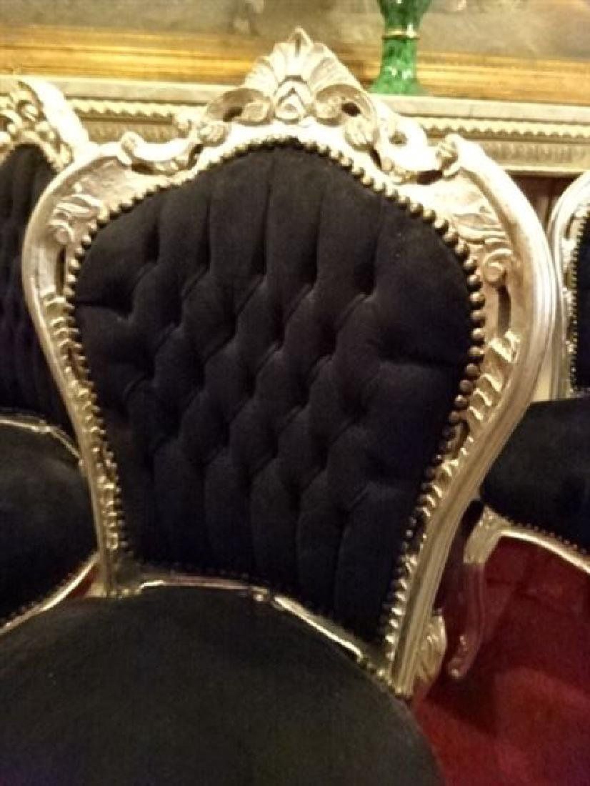 6 LOUIS XV STYLE SILVER GILT CHAIRS, BLACK VELVET - 3