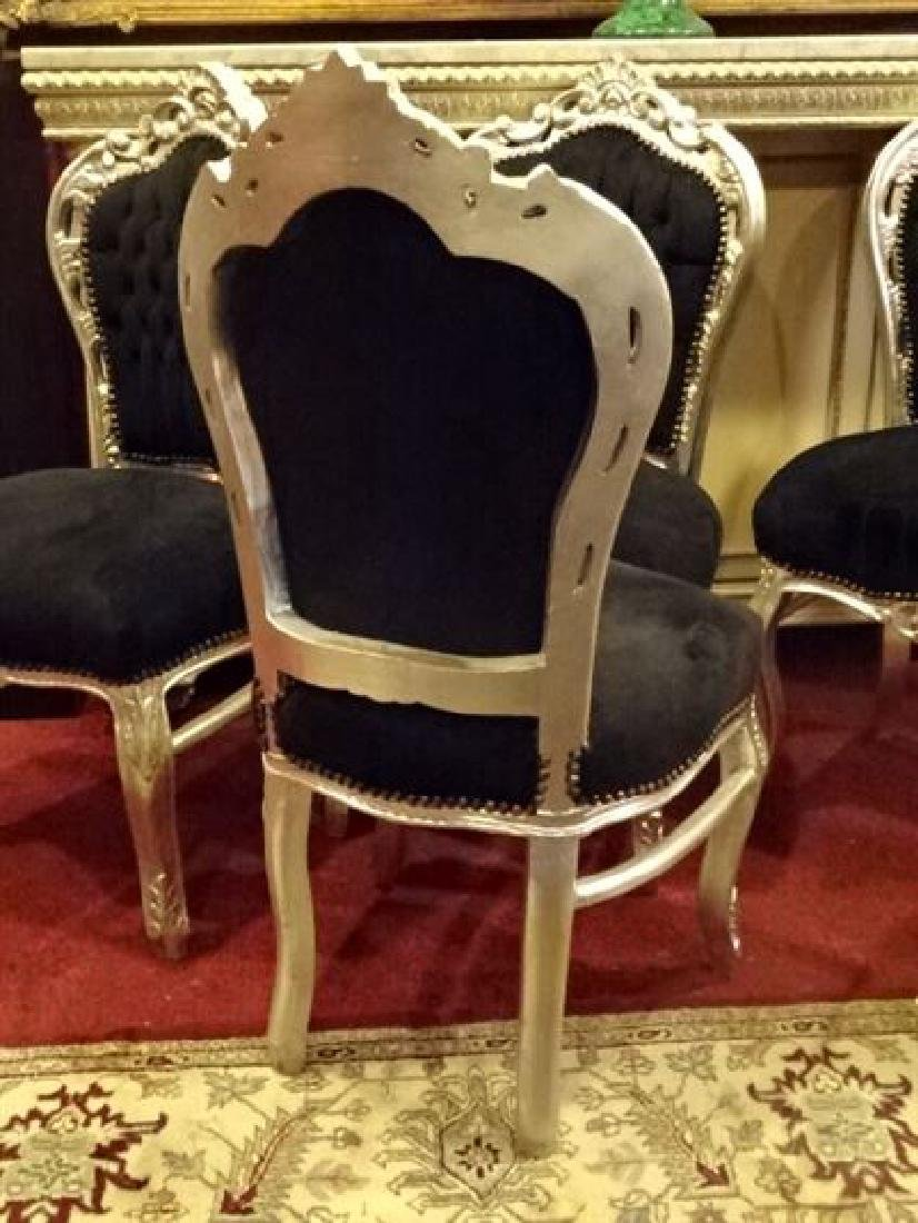 6 LOUIS XV STYLE SILVER GILT CHAIRS, BLACK VELVET - 6