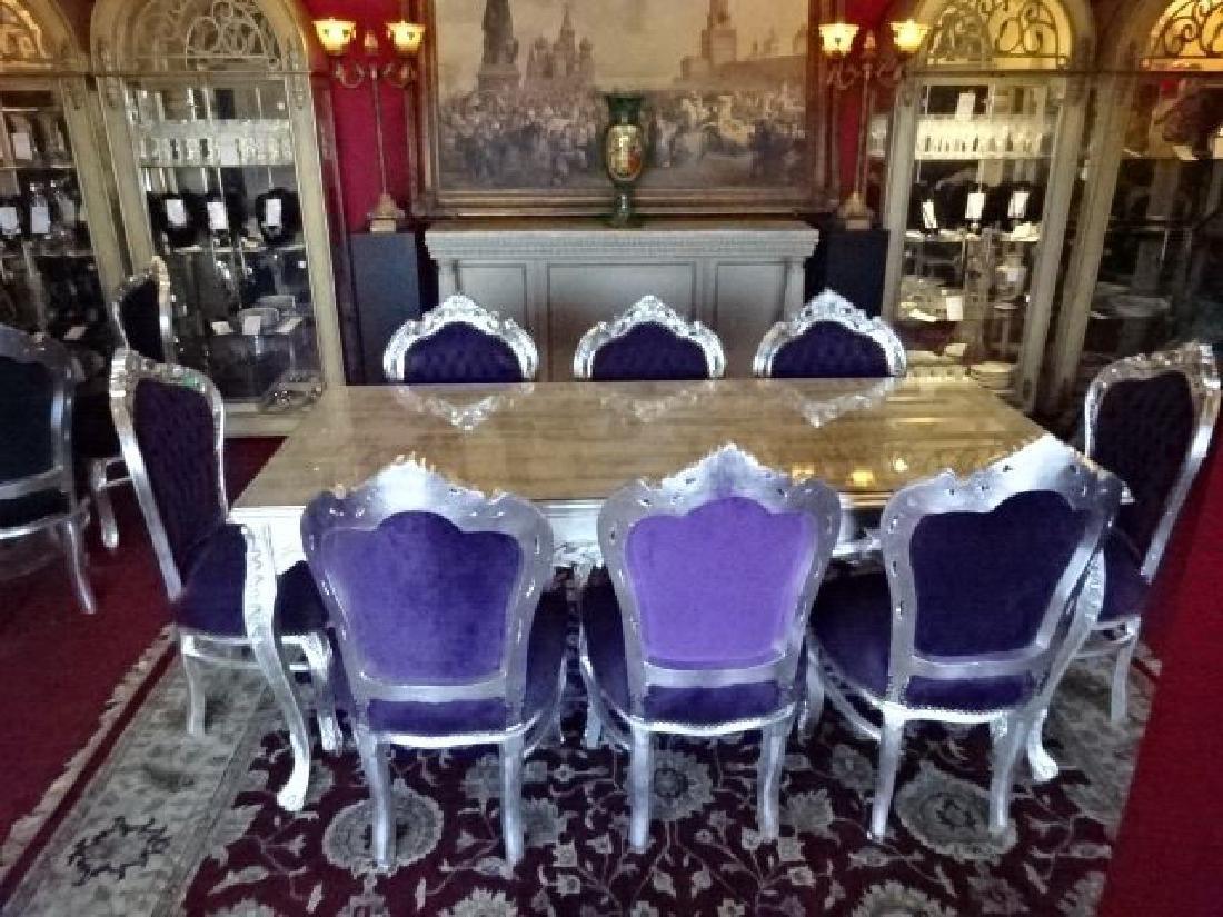 9 PC LOUIS XV STYLE SILVER GILT DINING SET, ROCOCO - 2