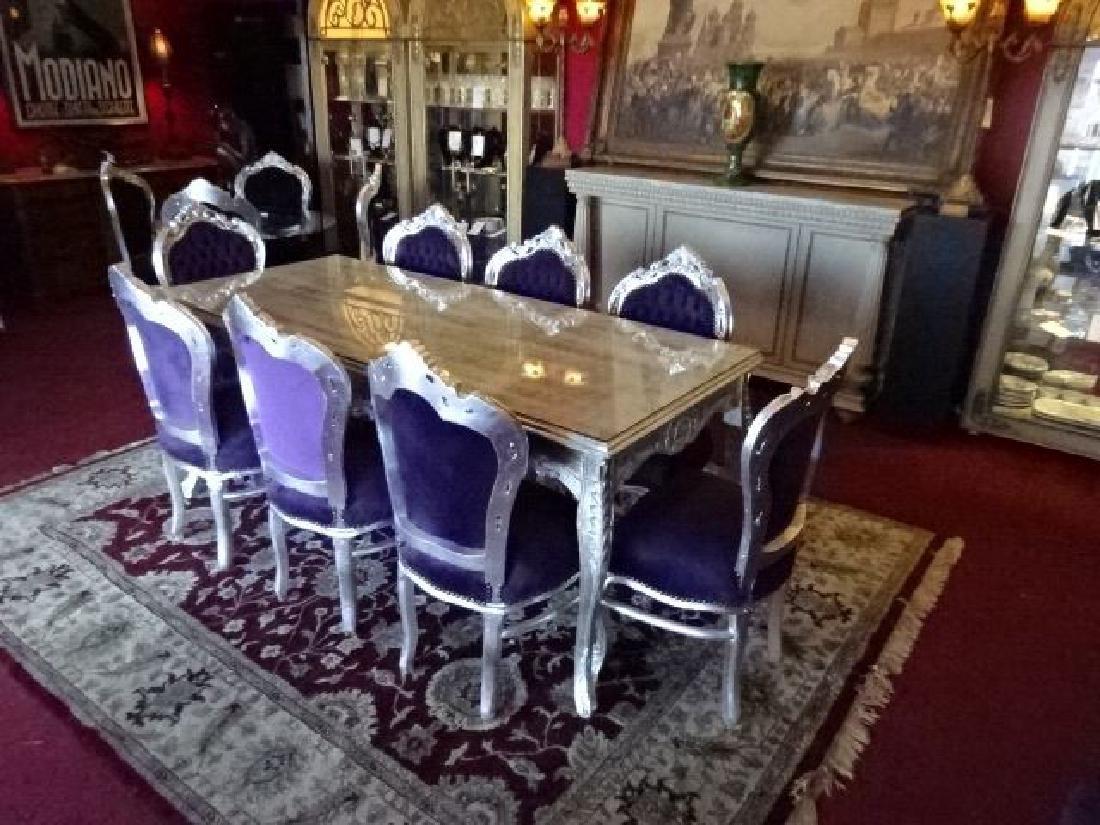 9 PC LOUIS XV STYLE SILVER GILT DINING SET, ROCOCO - 4
