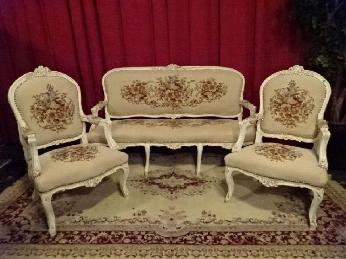 3 PC LOUIS XV STYLE PARLOR SET, SOFA AND 2 ARM CHAIRS,
