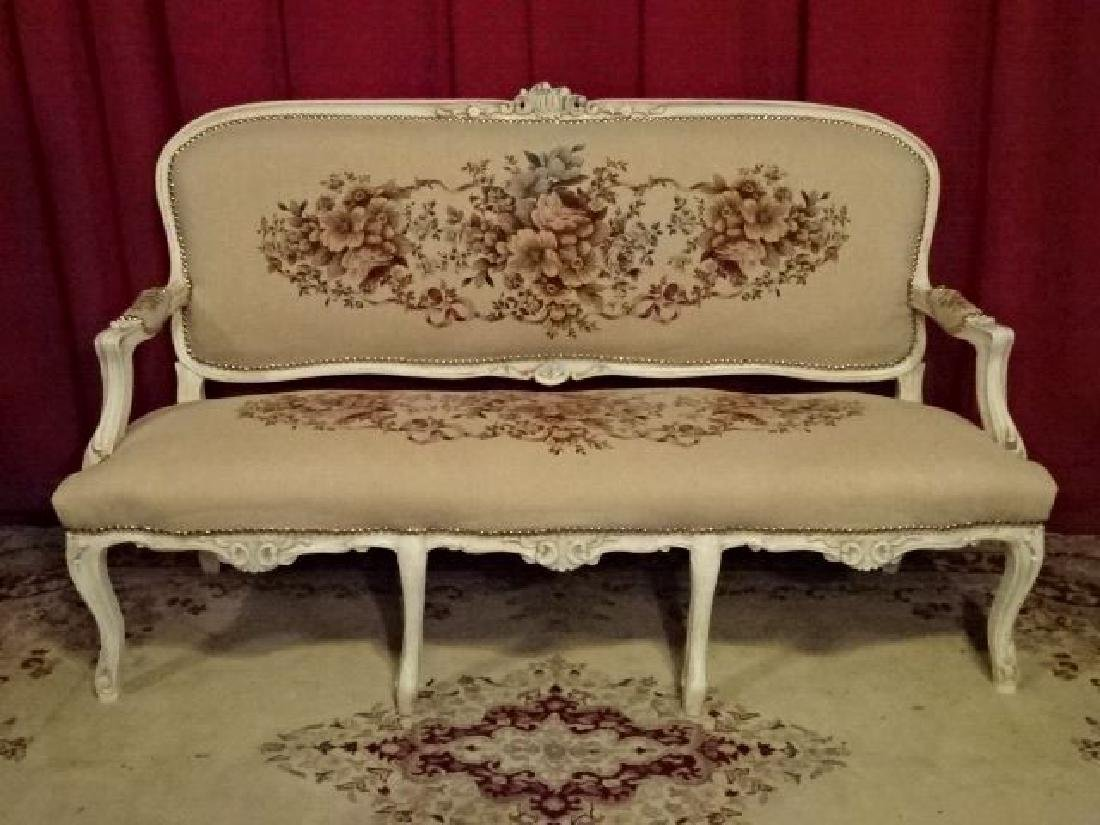 3 PC LOUIS XV STYLE PARLOR SET, SOFA AND 2 ARM CHAIRS, - 2