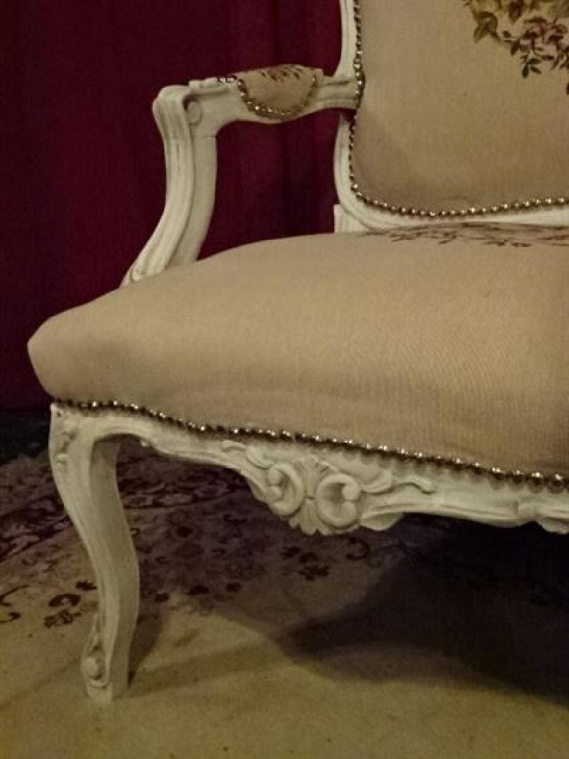 3 PC LOUIS XV STYLE PARLOR SET, SOFA AND 2 ARM CHAIRS, - 4