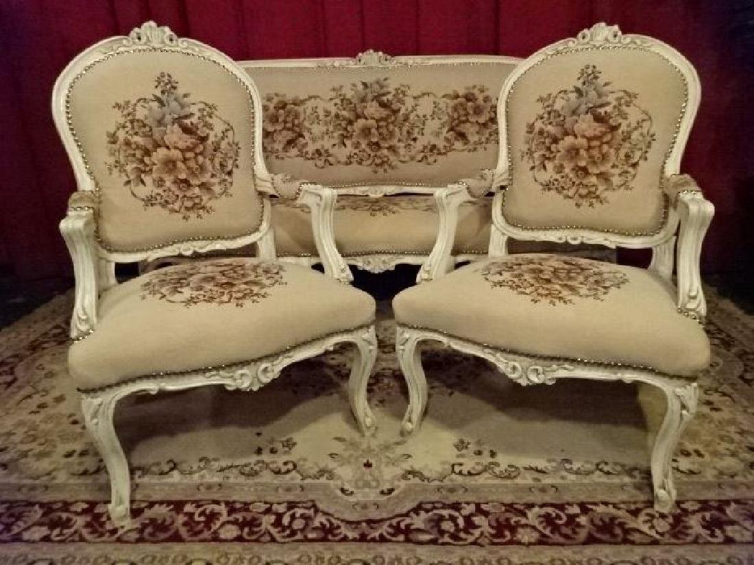 3 PC LOUIS XV STYLE PARLOR SET, SOFA AND 2 ARM CHAIRS, - 6