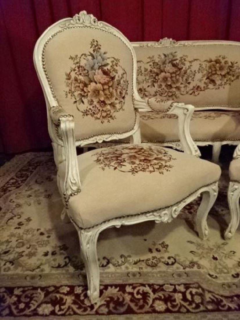 3 PC LOUIS XV STYLE PARLOR SET, SOFA AND 2 ARM CHAIRS, - 7
