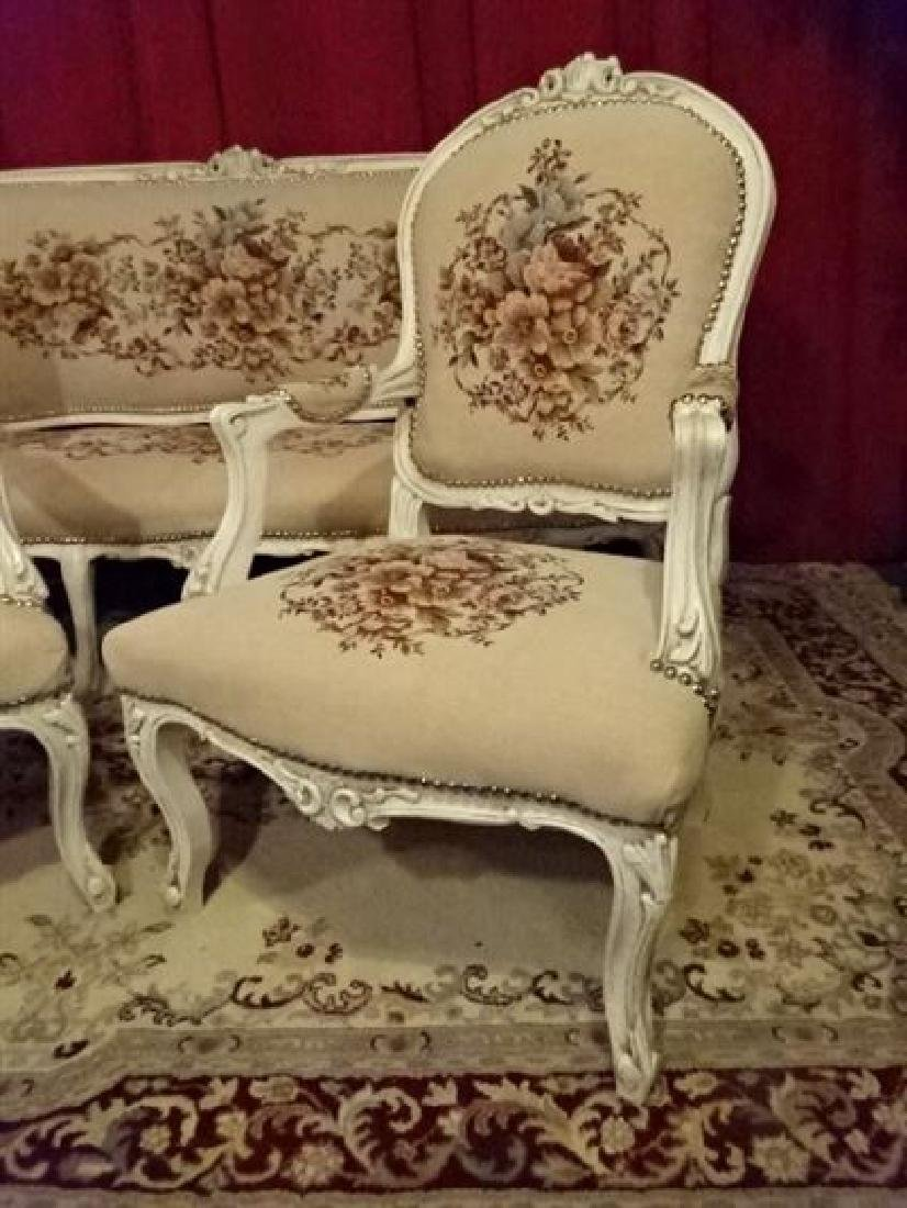 3 PC LOUIS XV STYLE PARLOR SET, SOFA AND 2 ARM CHAIRS, - 8
