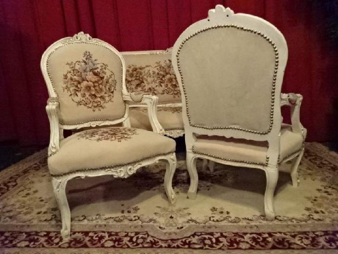3 PC LOUIS XV STYLE PARLOR SET, SOFA AND 2 ARM CHAIRS, - 9