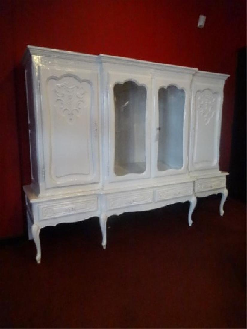 LOUIS XV STYLE CABINET, 2 GLAZED DOORS FLANKED BY TWIN - 5