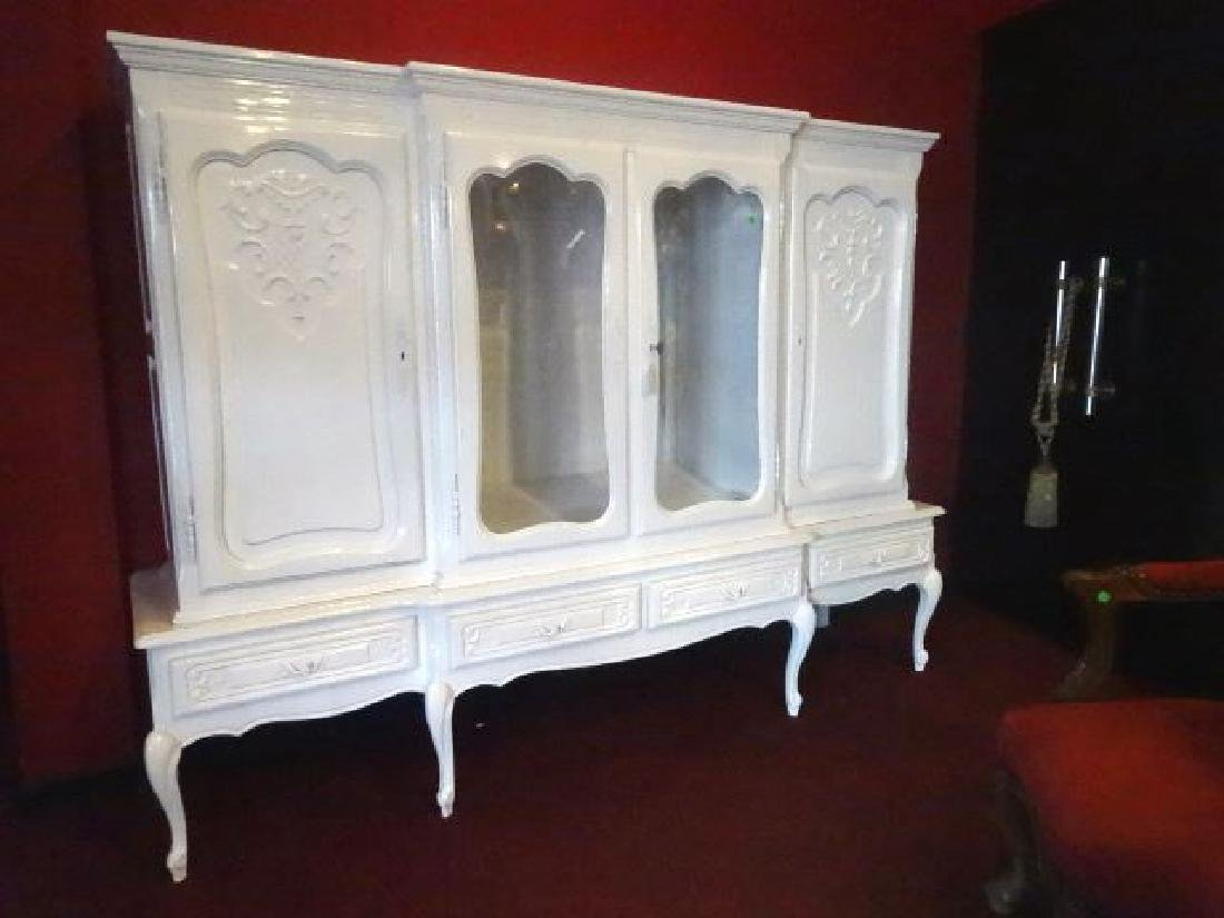 LOUIS XV STYLE CABINET, 2 GLAZED DOORS FLANKED BY TWIN - 6