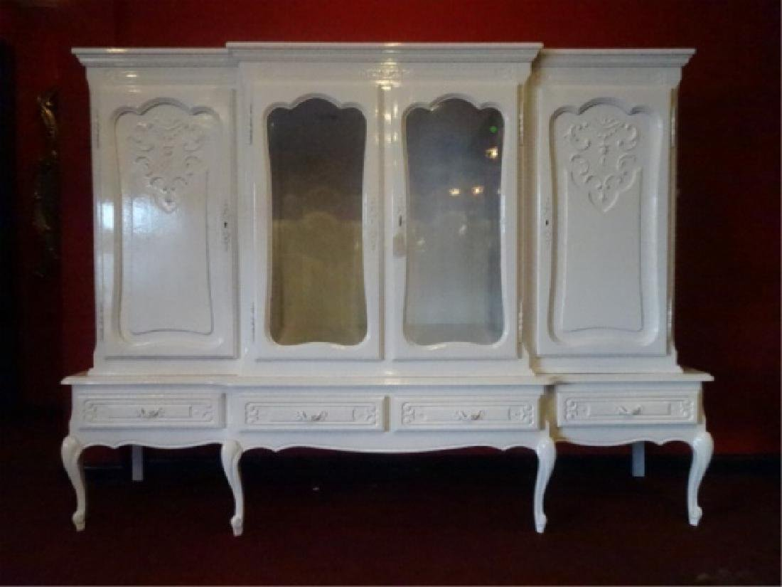 LOUIS XV STYLE CABINET, 2 GLAZED DOORS FLANKED BY TWIN - 8