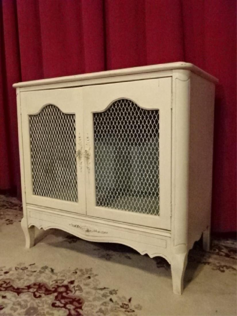WHITE PAINTED WOOD CABINET, 2 DOORS WITH MESH PANELS, - 2