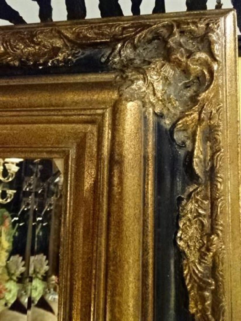 LARGE GILT WOOD MIRROR, BLACK AND GOLD RECTANGULAR - 2