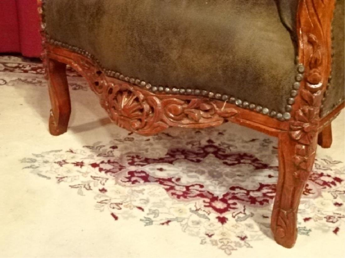 LOUIS XIV STYLE BERGERE ARM CHAIR, COCOA SUEDED TUFTED - 3