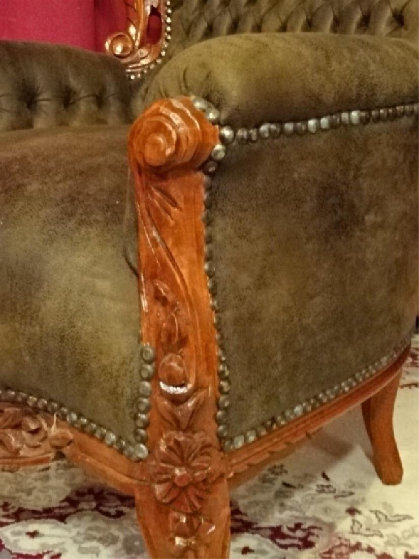 LOUIS XIV STYLE BERGERE ARM CHAIR, COCOA SUEDED TUFTED - 4