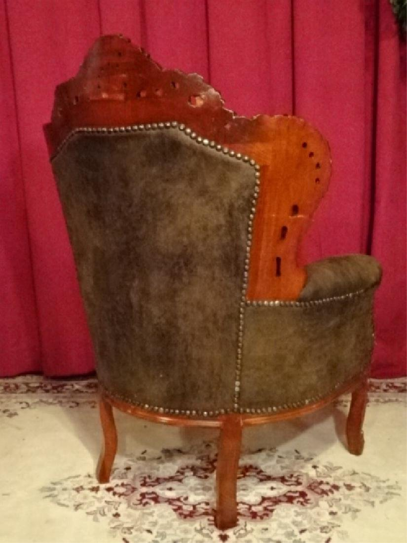LOUIS XIV STYLE BERGERE ARM CHAIR, COCOA SUEDED TUFTED - 6