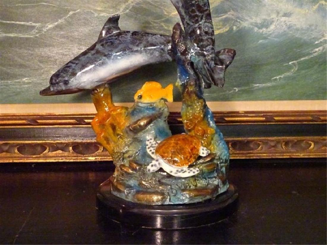 LARGE BRONZE DOLPHIN SCULPTURE, 2 PATINATED BRONZE - 3