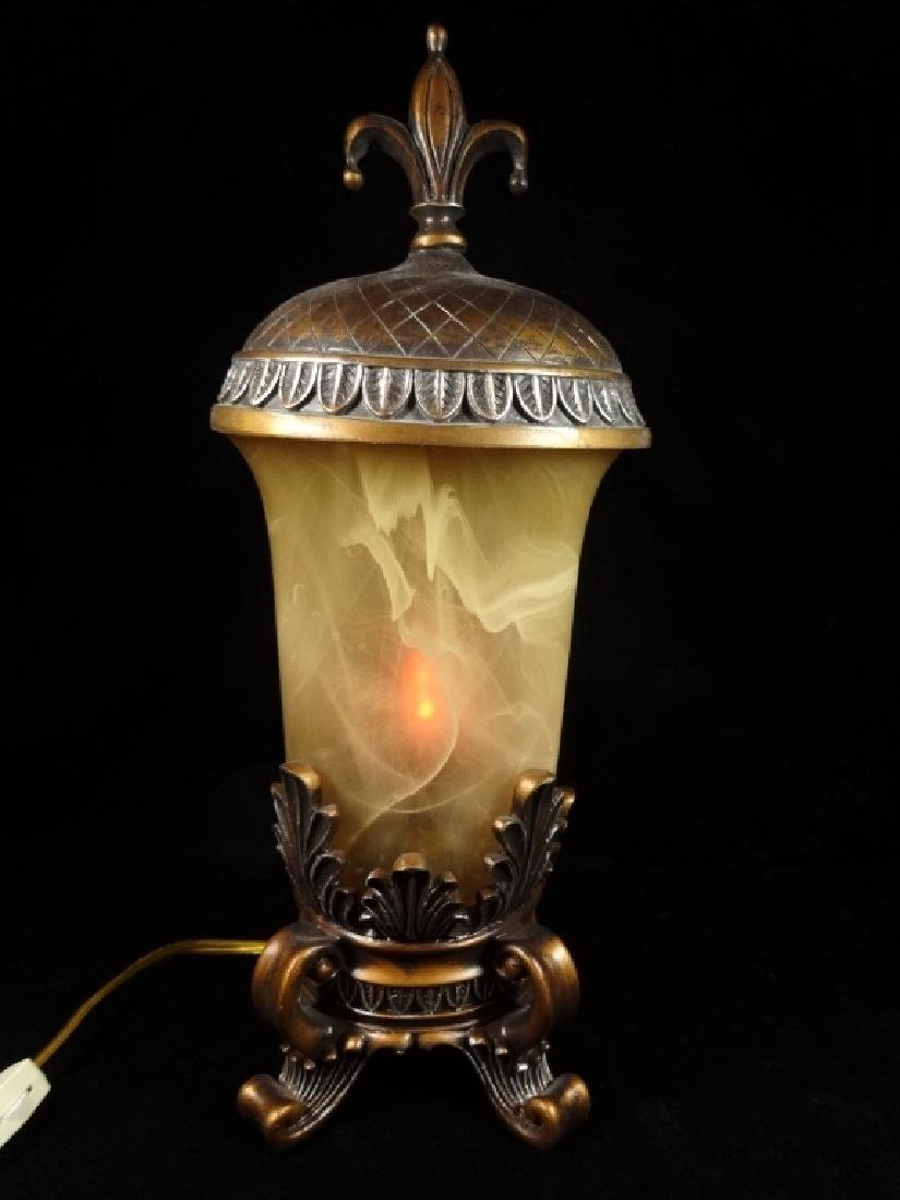 """URN STYLE TABLE LAMP WITH LID, COMPOSITE, APPROX 16.5""""H"""