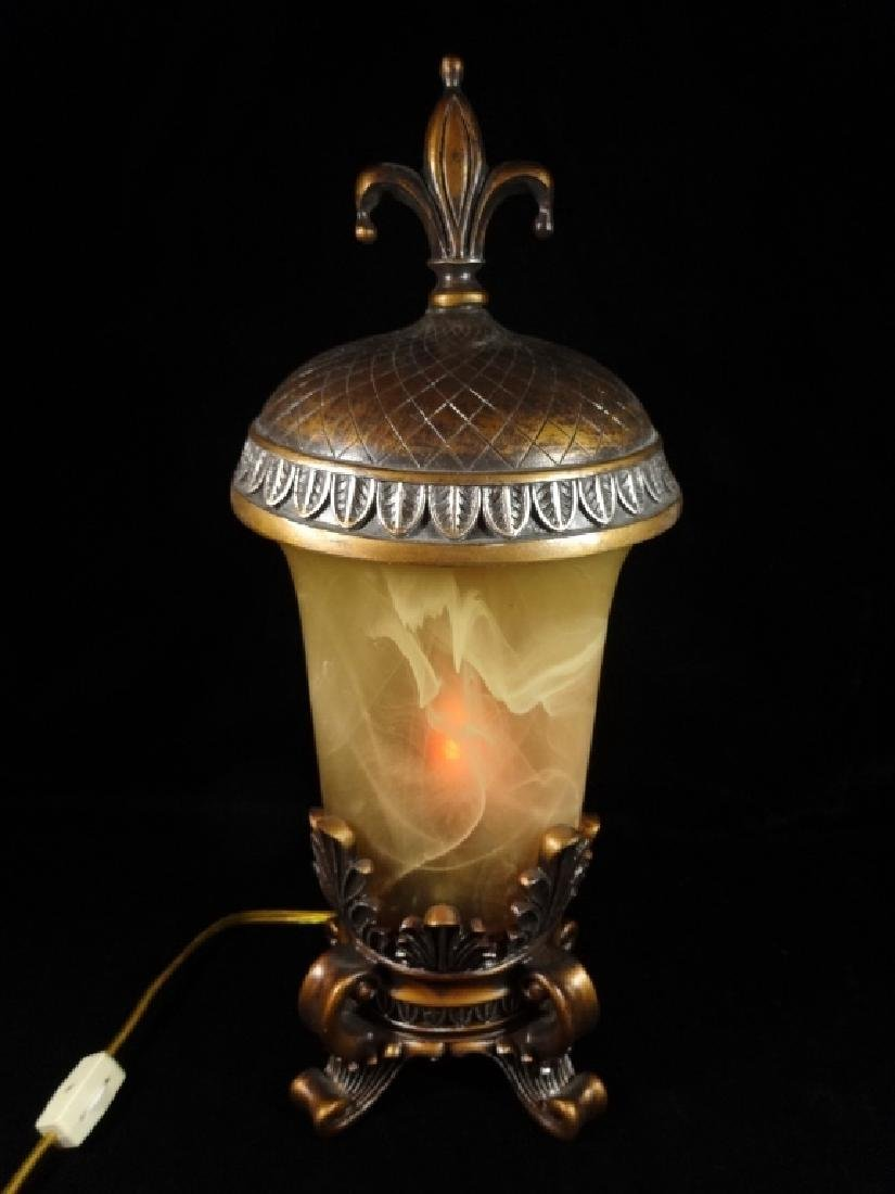 """URN STYLE TABLE LAMP WITH LID, COMPOSITE, APPROX 16.5""""H - 2"""