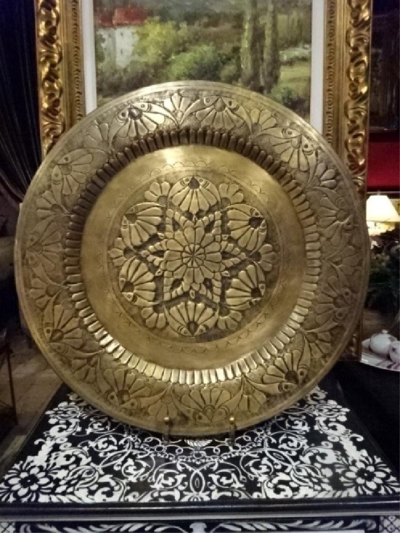 LARGE DECORATIVE METAL PLATTER ON STAND, ORNATE ETCHED