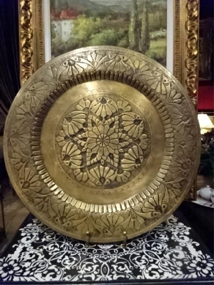 LARGE DECORATIVE METAL PLATTER ON STAND, ORNATE ETCHED - 2