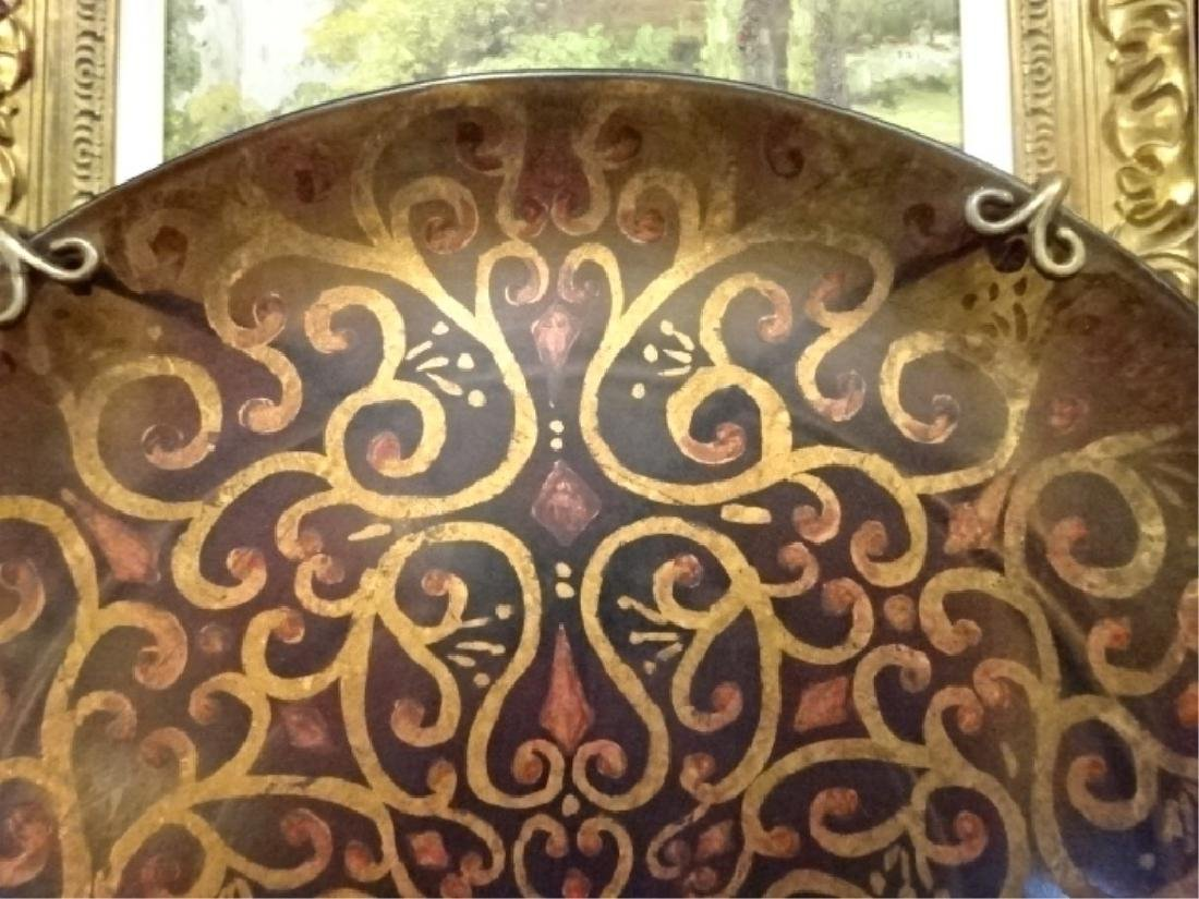LARGE DECORATIVE PLATTER ON STAND, ORNATE GOLD DESIGNS - 2