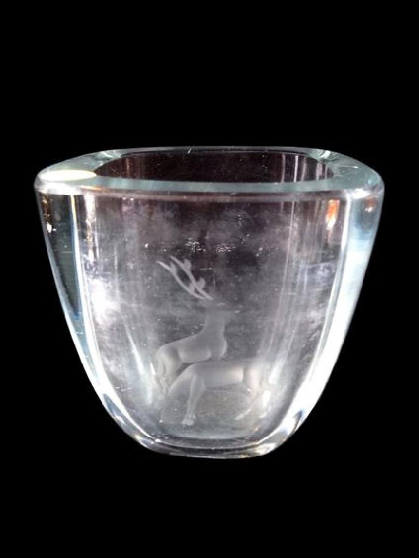 CRYSTAL VASE WITH ETCHED STAGS, VERY GOOD CONDITION NO