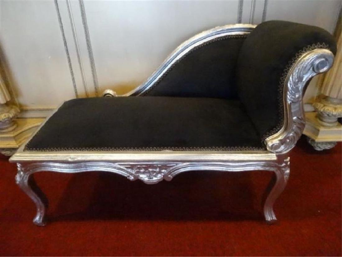 LOUIS XV STYLE CHILD SIZE CHAISE, SILVER GILT WOOD TRIM - 2