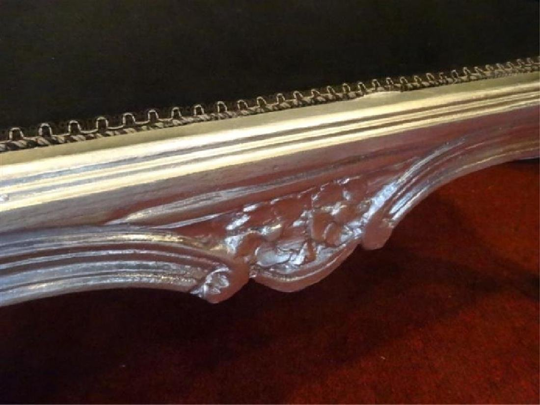 LOUIS XV STYLE CHILD SIZE CHAISE, SILVER GILT WOOD TRIM - 4