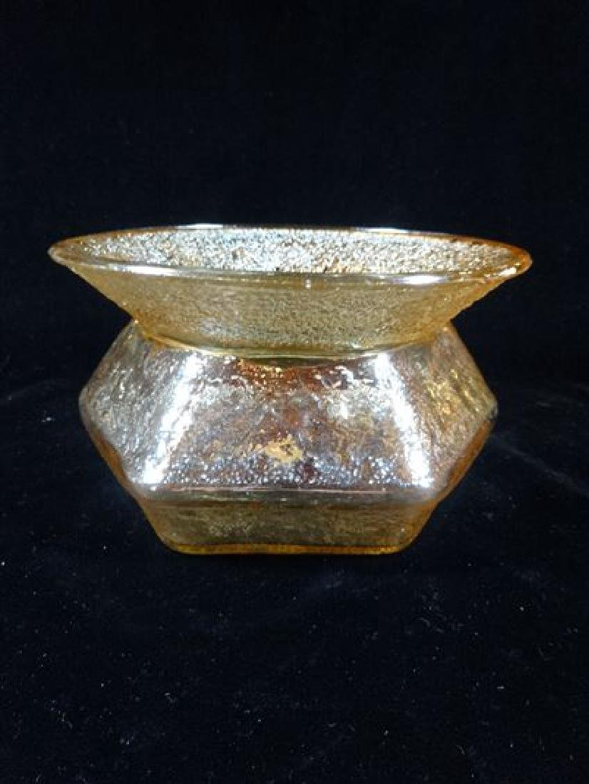 VINTAGE AMBER CARNIVAL GLASS BOWL, EARLY 20TH C. VERY