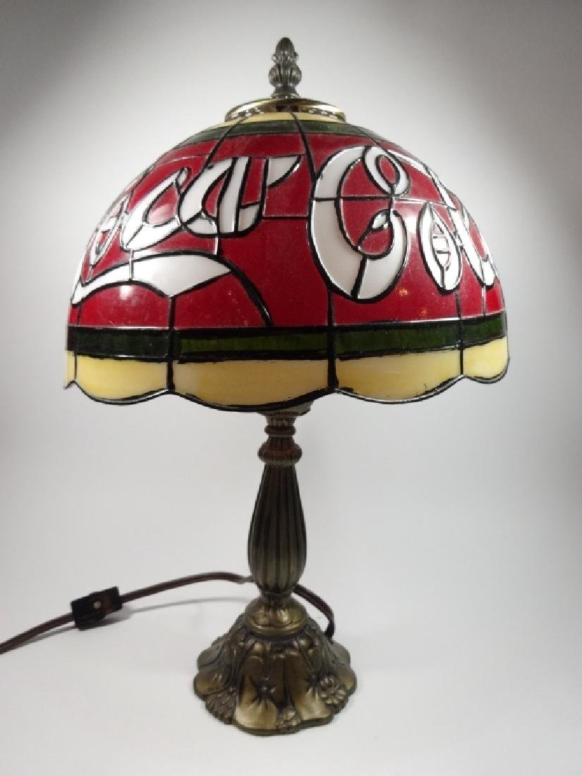 VINTAGE COCA COLA TIFFANY STYLE TABLE LAMP, PLASTIC