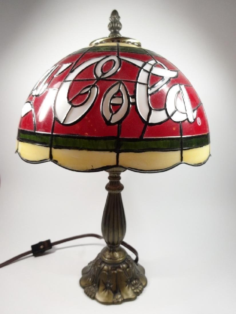 VINTAGE COCA COLA TIFFANY STYLE TABLE LAMP, PLASTIC - 3