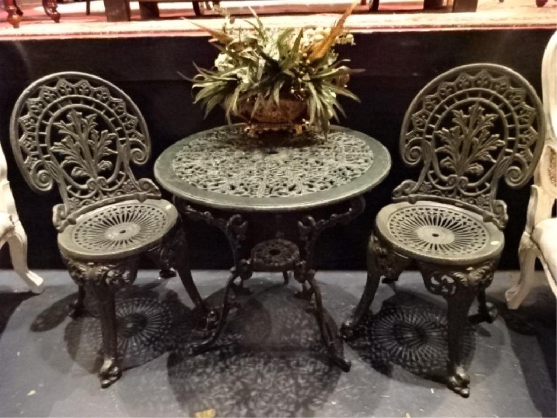 3 PC EMPIRE CRAFTSMAN IRON BISTRO TABLE, 2 CHAIRS,