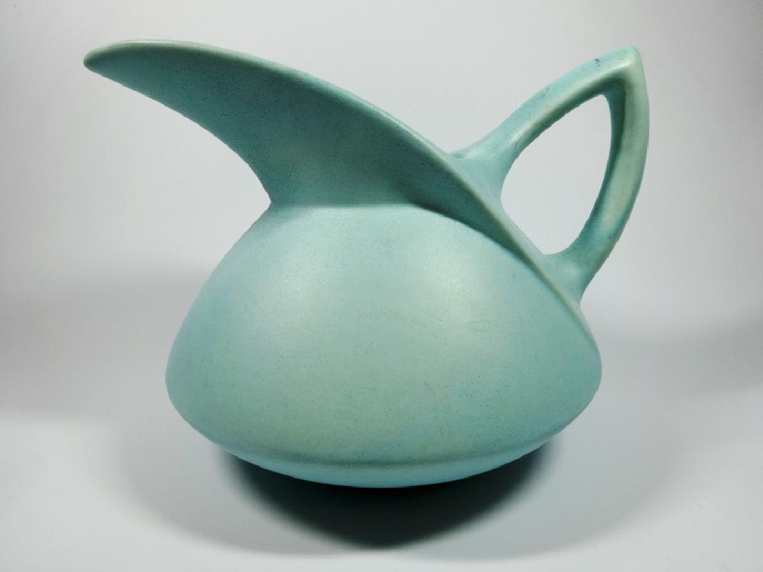 """MID CENTURY BLUE POTTERY PITCHER, UNMARKED, APPROX 6"""" X"""