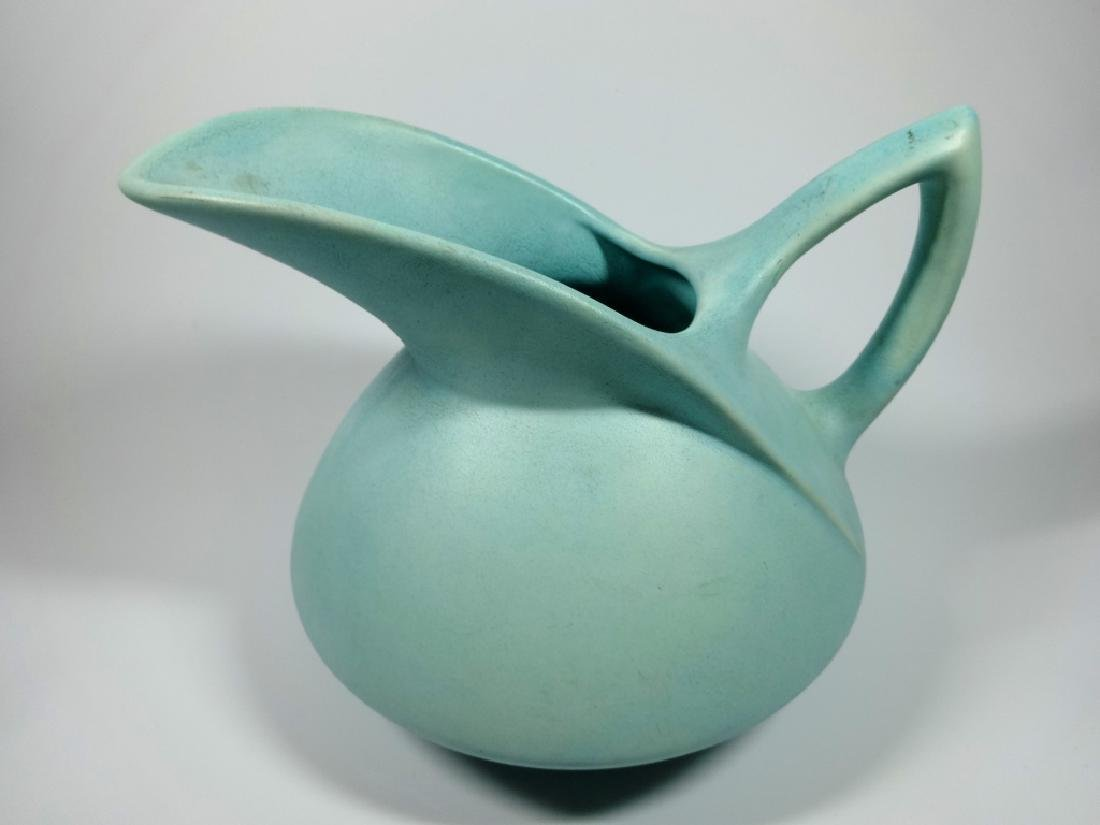 """MID CENTURY BLUE POTTERY PITCHER, UNMARKED, APPROX 6"""" X - 2"""