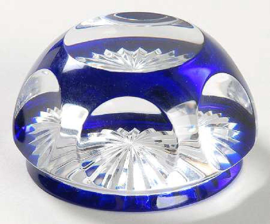 BACCARAT CRYSTAL PAPERWEIGHT, BLUE & CLEAR, MARKED,