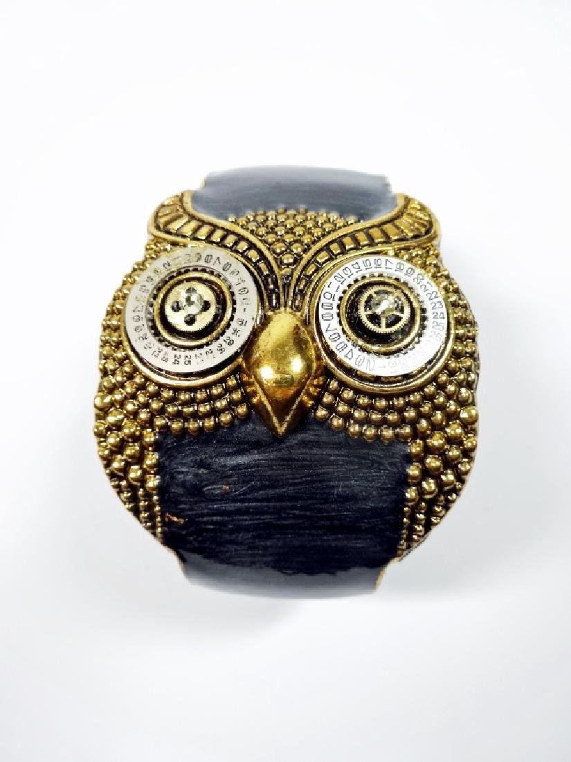 OWL CLAMPER BRACELET, GEAR & CALENDAR DIAL EYES, GOLD