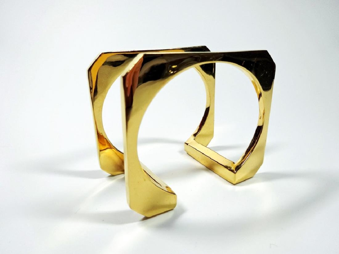 """DOUBLE SQUARE GOLD TONE CUFF BRACELET, APPROX 1.5""""W,"""