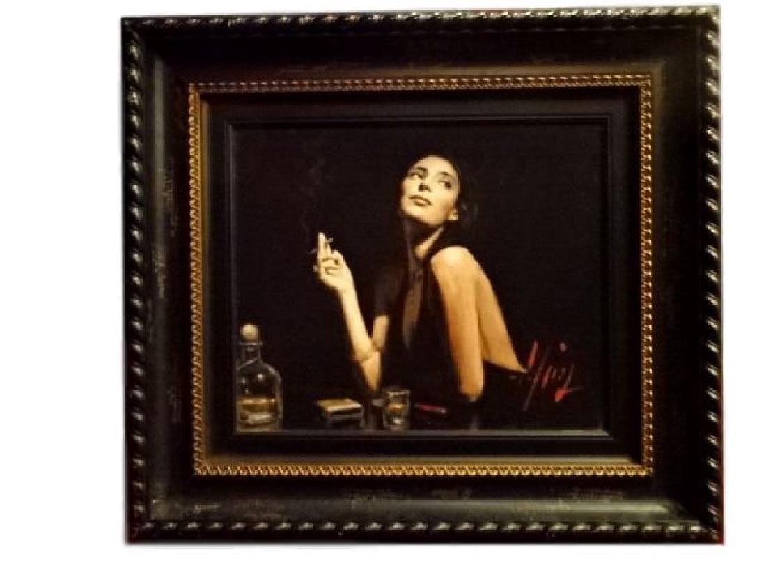 FABIAN PEREZ LIMITED EDITION GICLEE, WOMAN AT BAR,
