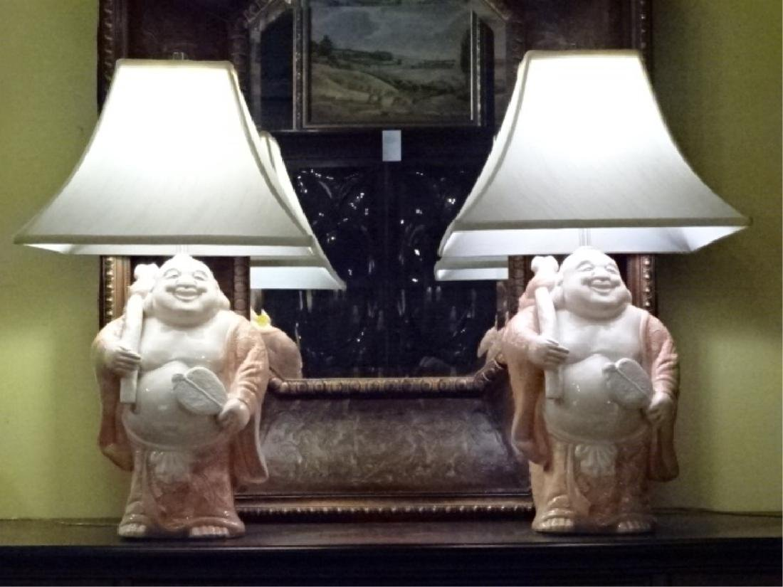 PAIR CHINOISERIE PORCELAIN LAMPS, VERY GOOD CONDITION,